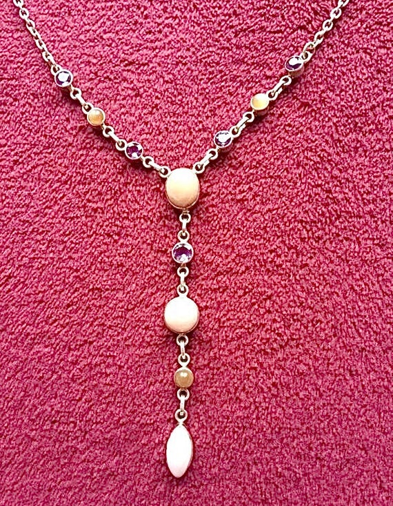 Sterling silver and pink gemstone necklace