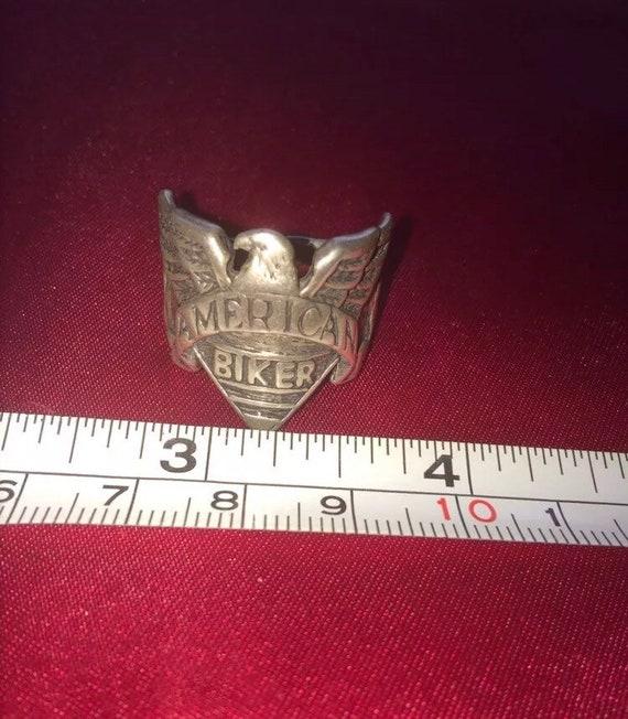 Sterling silver eagle Man's biker ring American Bi