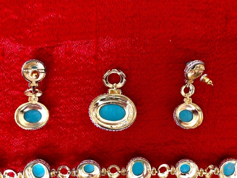 Gold plated sterling silver bracelet earrings and pendant set