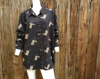 4e3181c518204 Vintage 90 s Wrangler Women s Western Shirt Black Cowboy Boots Snap XXL 2XL  Plus