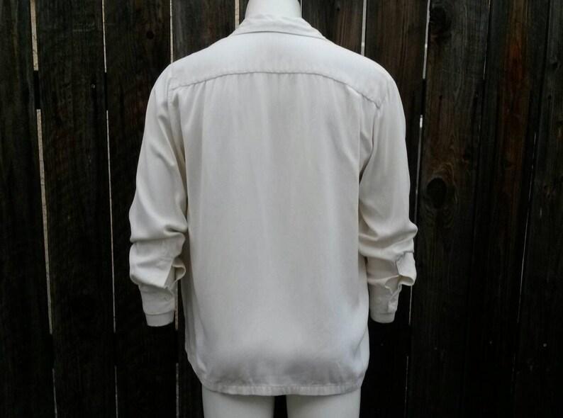 Vintage 40/'s 50/'s Rockabilly Men/'s Shirt White Monogram Gaberdine Collar Loop Large