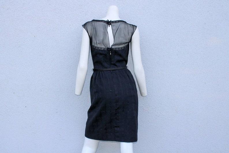 Vintage Harvey Berin 50/'s Dress Black Cocktail Sheer Silk Couture XS