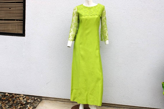 Vintage 60's Lime Green Formal Maxi Dress Lace Sle