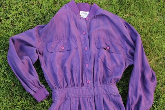 Vintage 80's Women's Silk Purple Jumpsuit Romper P