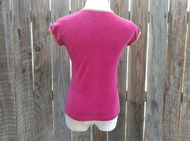 Vintage 70/'s Women/'s Knit Shirt Disco Pink Gold Velour Velvet Claiborne Medium