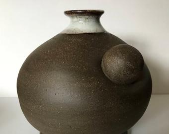 "Pottery Vase ""BOLA"", Orb, Brown Stoneware, White Glaze"