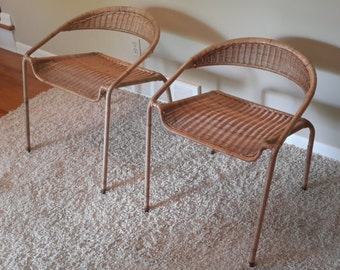 Brilliant Items Similar To Mid Century Pair Of Scoop Back Woven Rattan Uwap Interior Chair Design Uwaporg