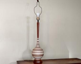 Mid Century Teak and Plaster Table Lamp
