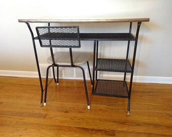 Mid Century Black Wrought Iron Desk / Vanity With Task Chair