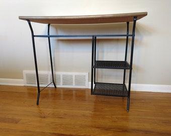 Bon Mid Century Black Wrought Iron Desk / Vanity