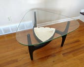 Mid Century Adrian Pearsall Style Black Coffee Side Table with Planter