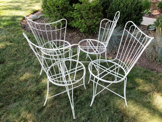 Amazing Mid Century Homecrest Set Of Four Outdoor Chairs Gmtry Best Dining Table And Chair Ideas Images Gmtryco