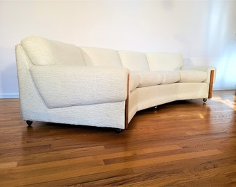 Mid Century Angled Sofa with Casters