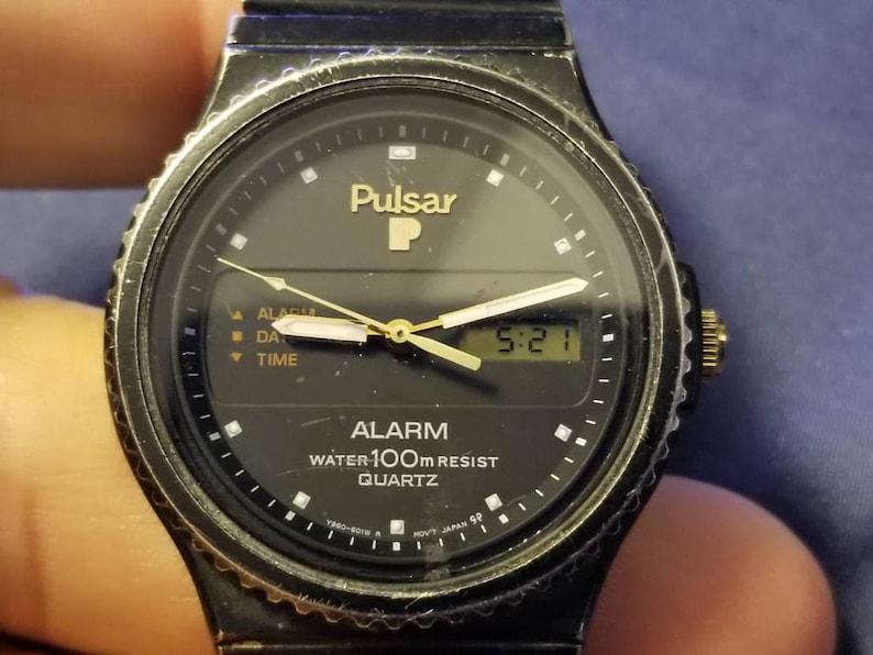 Rare Pulsar Alarm 100M Quartz Men's Watch #Y960-601Z