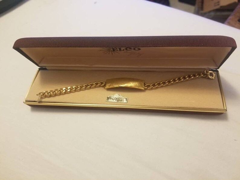 6d3382ea9abef Vintage Elco 1/20 12K GF Gold Filled Unisex ID Heavy Cuban Link Bracelet 7