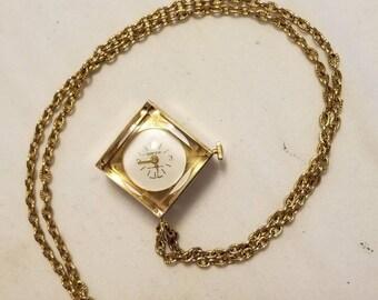 Rare Vintage Sperina Goldtone & Cear Lucite Pocket Watch Pendant Necklace