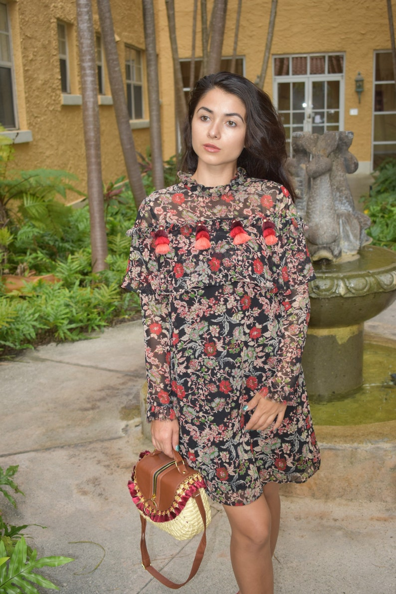 d7ba94d54fd Boho Style Red Tassel Long Sleeve Colorful Summer Dress