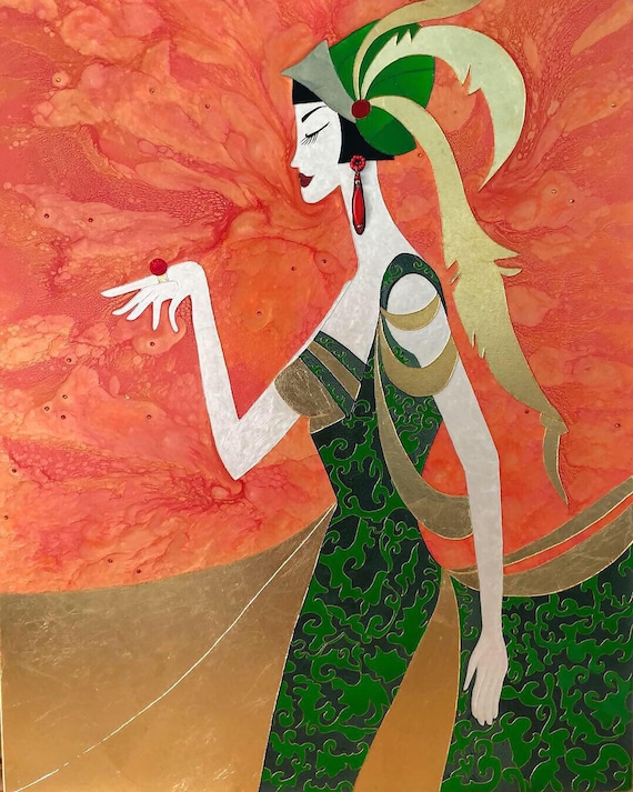 Art Deco Mixed Media Art Decoratiff 1920 S Style Art Etsy
