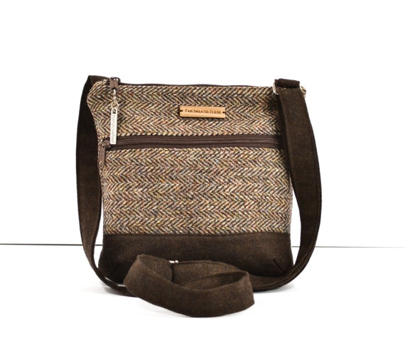 b5845450a0 Recycled Crossbody Bag Upcycled Harris Tweed Purse