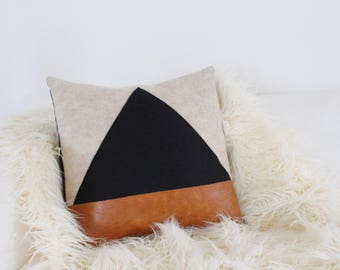 Black Triangle and Leather Decorative Pillow Cover 15ad30caf6b1