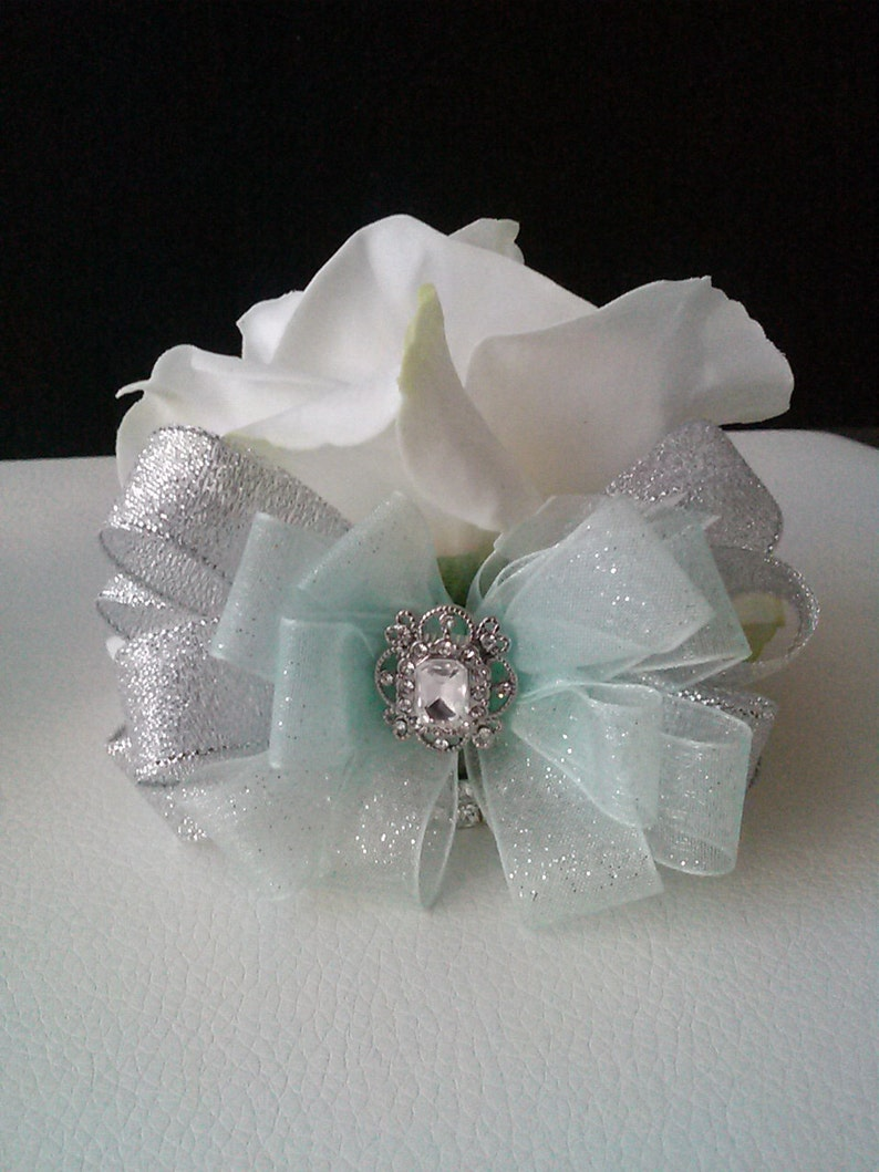 Mint Green and Silver Real Touch Rose Wrist Corsage-White and Mint Green Wedding Corsage-Prom Corsage-Homecoming Corsage