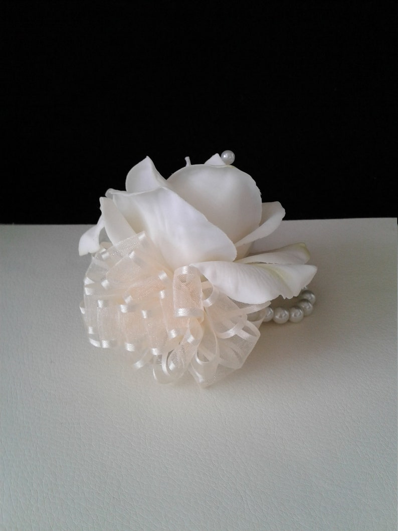Ivory Wrist Corsage With Pearl Band-Wedding Corsage-Mother of the Bride Corsage-Prom Corsage-Homecoming Corsage