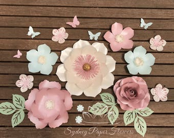 SUPER MINI 6 paper flower backdrop/Paper flower wall/Wedding Backdrop/Backdrop /Bridal or Baby shower/Sweet table/Christening /Dessert table