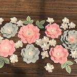 GREY&PINK Paper flower backdrop/Paper flower wall/Wedding Backdrop/Bridal Baby shower/Holy communion/Sweet table/Christening /Dessert table