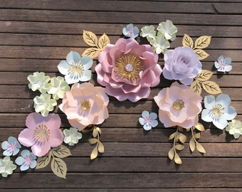 medi DOMINIKA rose peony Paper flower backdrop/Paper flower wall/Wedding Backdrop/Bridal Baby shower/Nursery decor/Christening/1st birthday