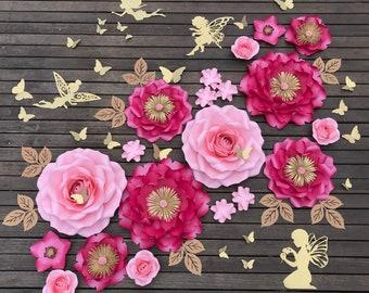 FAIRYTALE rose peony Paper flower backdrop/Paper flower wall/Wedding Backdrop/Bridal Baby shower/Nursery decor/Christening/1st birthday