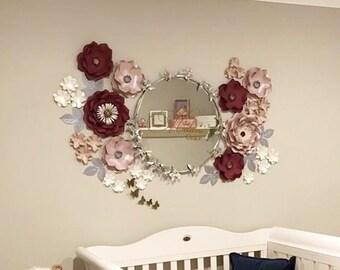 BURGUNDY Paper flower backdrop/Paper flower wall/Wedding Backdrop/Bridal Baby shower/Nursery decor/Christening/1st birthday