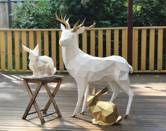 Paper sculpture 3D REINDEER /Chinese New Year/Nursery styling/Its a boy/1st birthday/Baby shower decor/Kids party/Birthday party/Photo prop