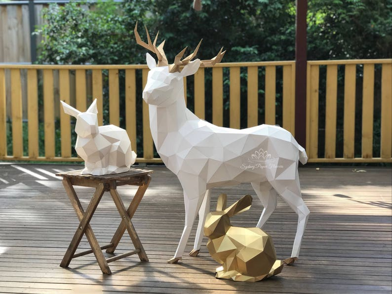 Paper sculpture 3D REINDEER /Chinese New Year/Nursery image 0