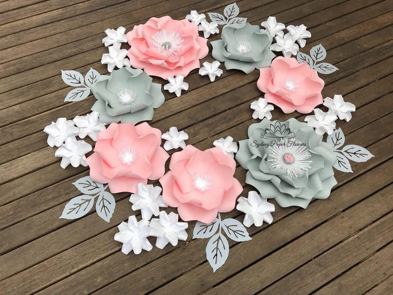 GREY&PINK Paper flower backdrop/Paper flower wall/Wedding image 0