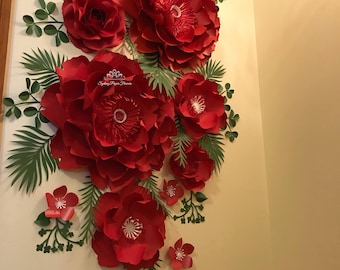 ALL RED Paper flower backdrop/Paper flower wall/Wedding Backdrop/Bridal Baby shower/Nursery decor/Christening/Sweet16/Holy communion/Baptism