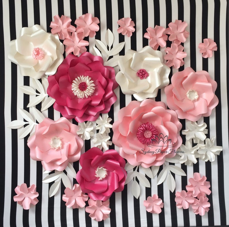 Kate Spade Party Paper Flower Backdrop Paper Flower Wall Wedding Backdrop Bridal Baby Shower Sweet Table Holy Communion Nursery Decor Stylin