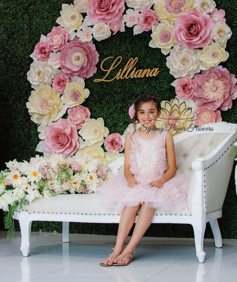 1 7m Wreath Paper Flower Backdrop Paper Flower Wall Wedding Backdrop Holy Communion Baby Bridal Shower Sweet Table Christening High Tea