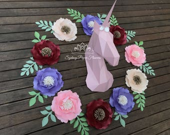 Paper sculpture 3D UNICORN/Princess/baby room/Nursery styling/Its a girl/1st birthday/Baby shower decor/Kids party/Birthday party/Photo prop