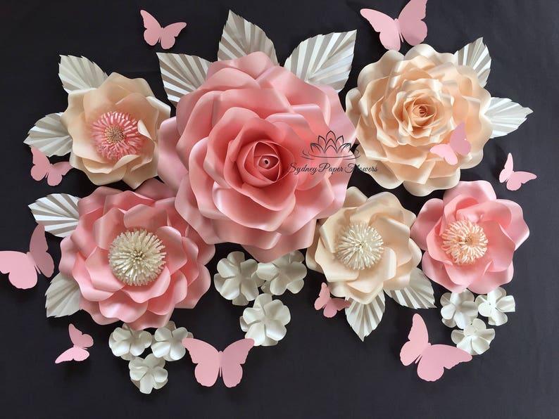 All Roses Medium Paper Flower Backdrop Paper Flower Wall Wedding Backdrop Bridal Baby Shower Holy Communion Sweet Dessert Table Christening