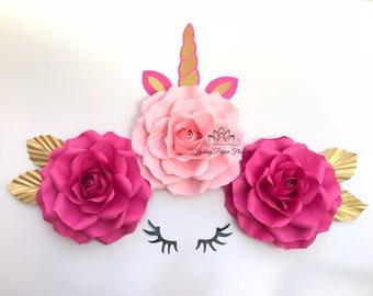 mini ROSE UNICORN 2 Paper flower backdrop/Paper flower wall/Wedding Backdrop/Bridal Baby shower/Nursery decor/Christening/Holy communion