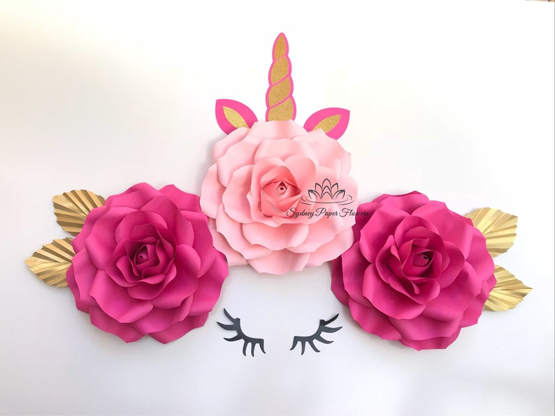Mini Rose Unicorn 2 Paper Flower Backdrop Paper Flower Wall Wedding Backdrop Bridal Baby Shower Nursery Decor Christening Holy Communion