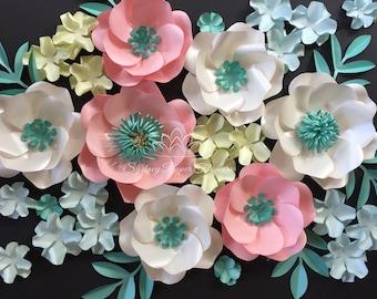 AQUA SPRING Paper flower backdrop/Paper flower wall/Wedding Backdrop/Baptism/Engagement/Baby shower/Sweet table/Christening /Dessert table