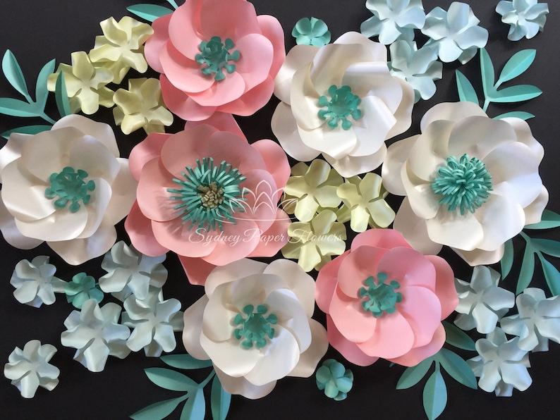 AQUA SPRING Paper flower backdrop/Paper flower wall/Wedding image 0