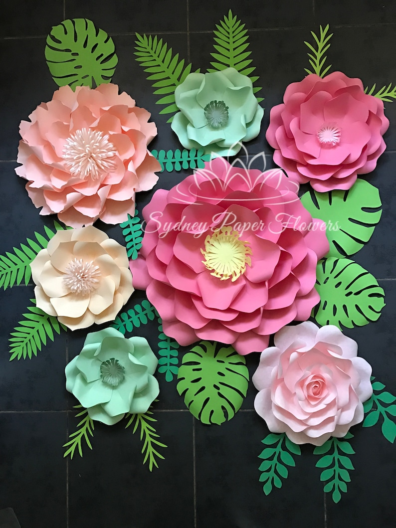 Tropical Party Paper Flower Backdrop Paper Flower Wall Wedding Backdrop Tropical Wedding Baby Bridal Shower Sweet Table Kids Party Backdrop
