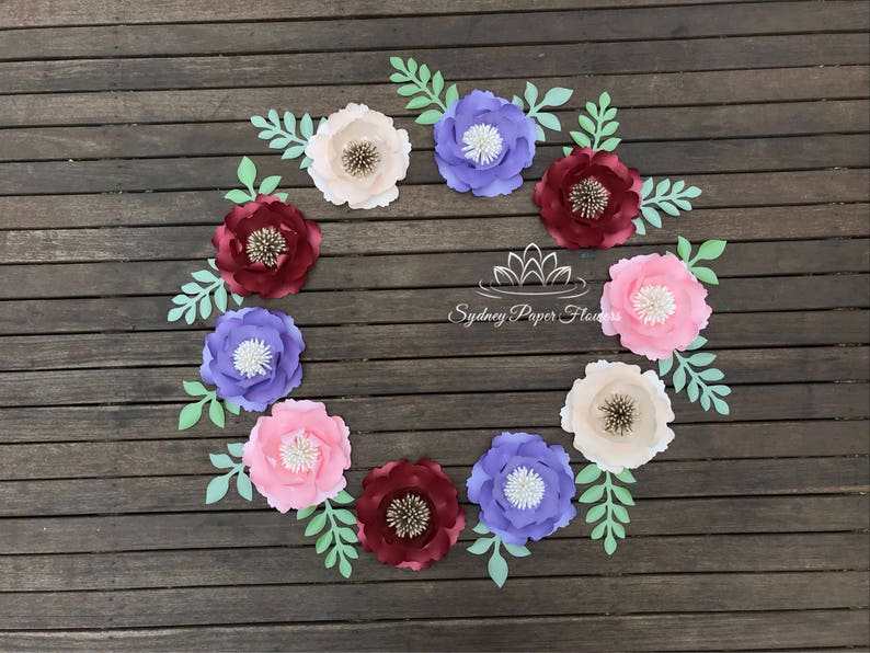 Paper flower peony WREATH / Baby shower/Bridal shower/Wedding image 0