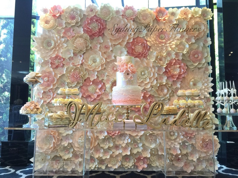Miss Ladelle paper flower wall 2.4 x 2.4 m/Backdrop/ Wedding image 0