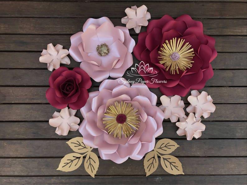 Burgundy Super Mini Paper Flower Backdrop Paper Flower Wall Wedding Backdrop Bridal Or Baby Shower Sweet Table Christening Dessert Table