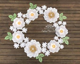 ALL WHITE WREATH paper flower backdrop/Paper flower wall/Wedding Backdrop/Backdrop /Baby shower/Sweet table/Christening /Bridal shower