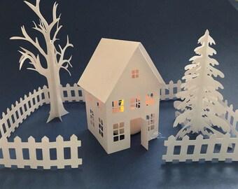 3D paper house lantern Christmas Decor DIY