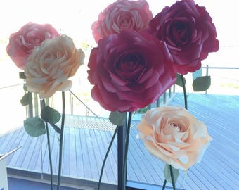 ROSE paper flower freestanding giant/paper flower wall/Wedding flower/birthday party /home styling/wedding centerpiece/window display